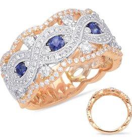 S. Kashi Rose & White Gold Criss Cross Diamond Ring