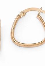 14K Rose Gold Polished Textured Hoops