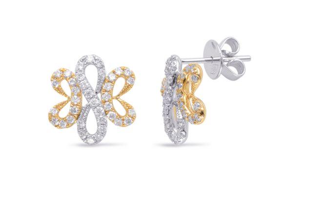S Kashi 14k White Yellow Gold Diamond Earrings