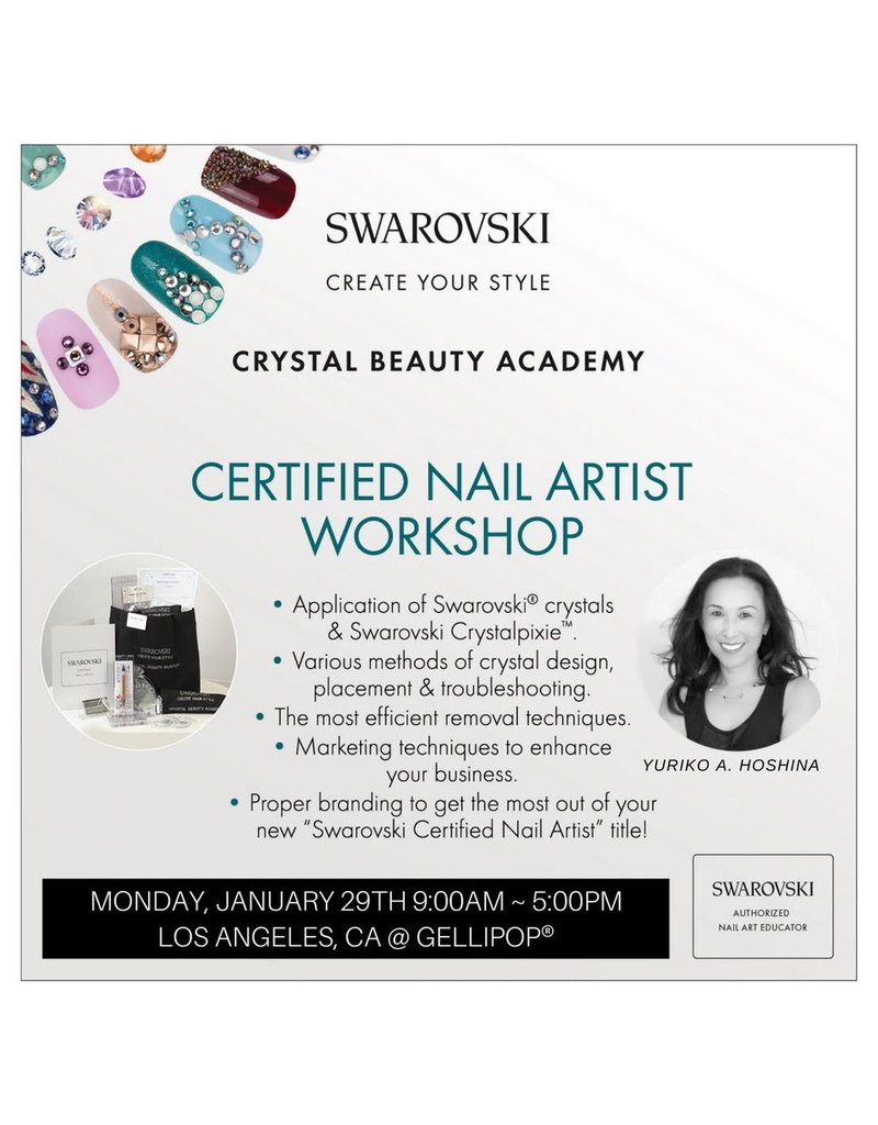 Gellipop 01/29/18 Swarovski Certified Nail Artist Workshop Deposit