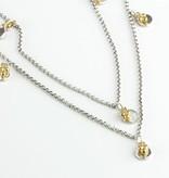 BARONI DESIGNS Necklace Long Gold Accent Disc Drop