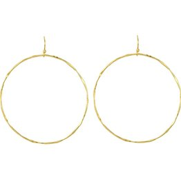 BARONI DESIGNS Earring Hammered Large Circle Gold