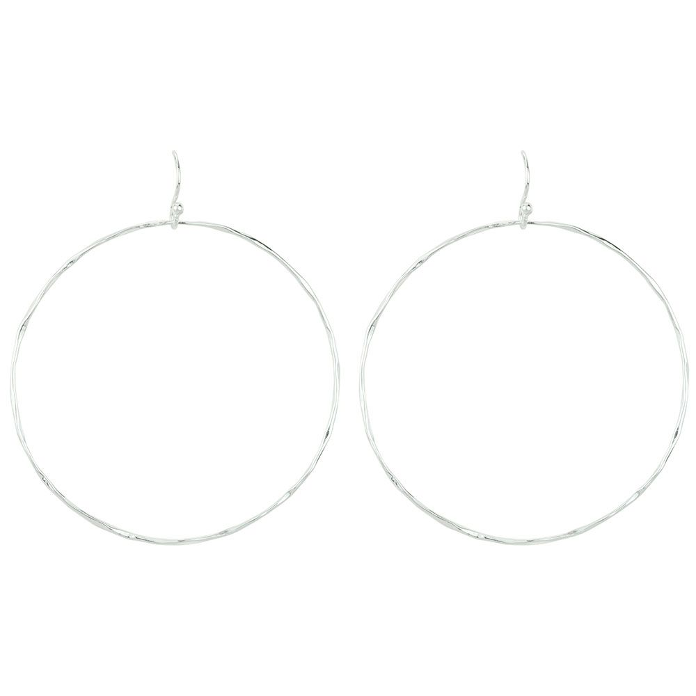BARONI DESIGNS Earring Hammered Large Circle Silver