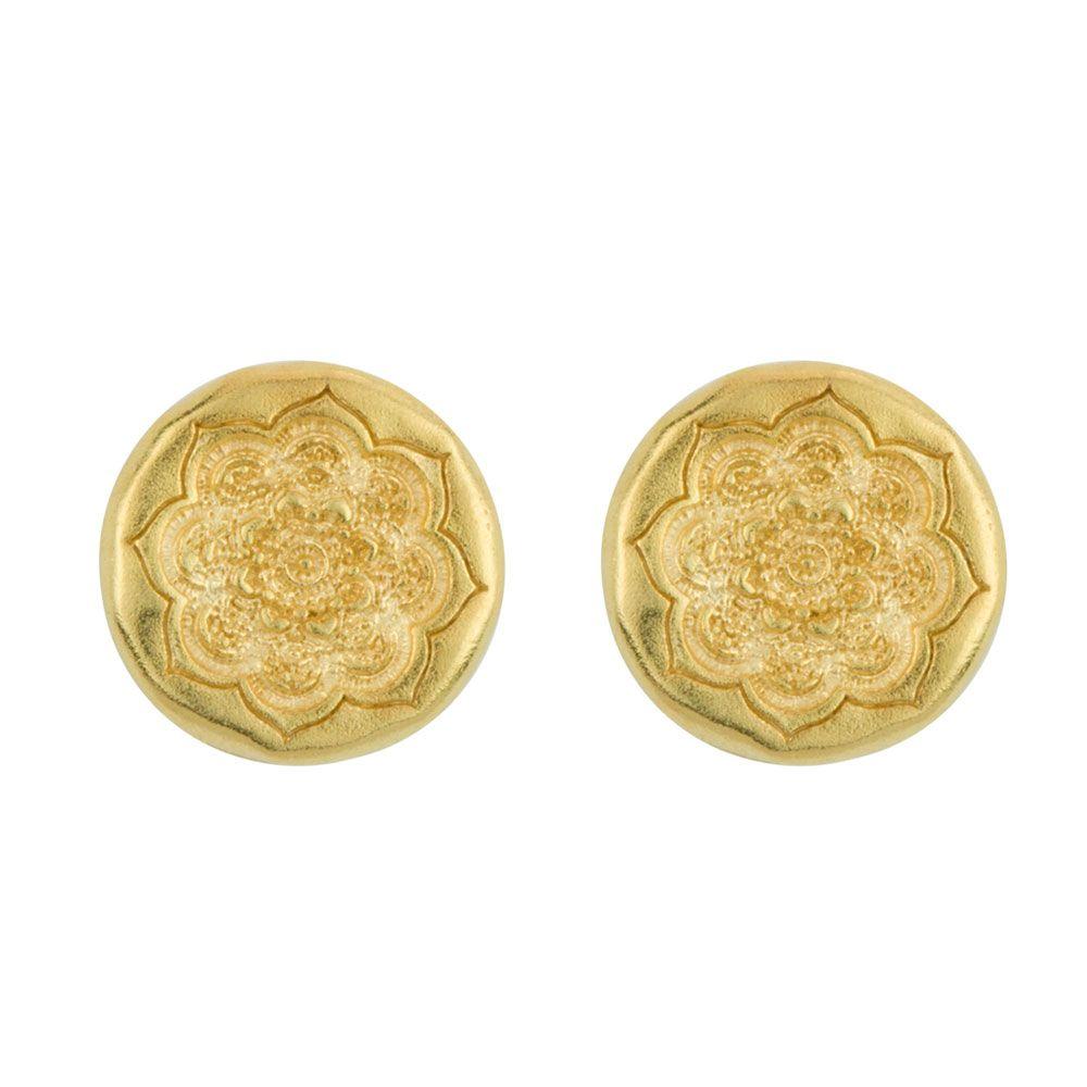 BARONI DESIGNS EARRING ORGANIC MANDALA POST EARWIRE GOLD
