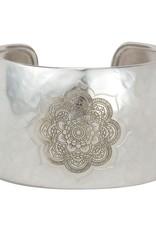 BARONI DESIGNS Bracelet Cuff Etched Mandala Wide Silver