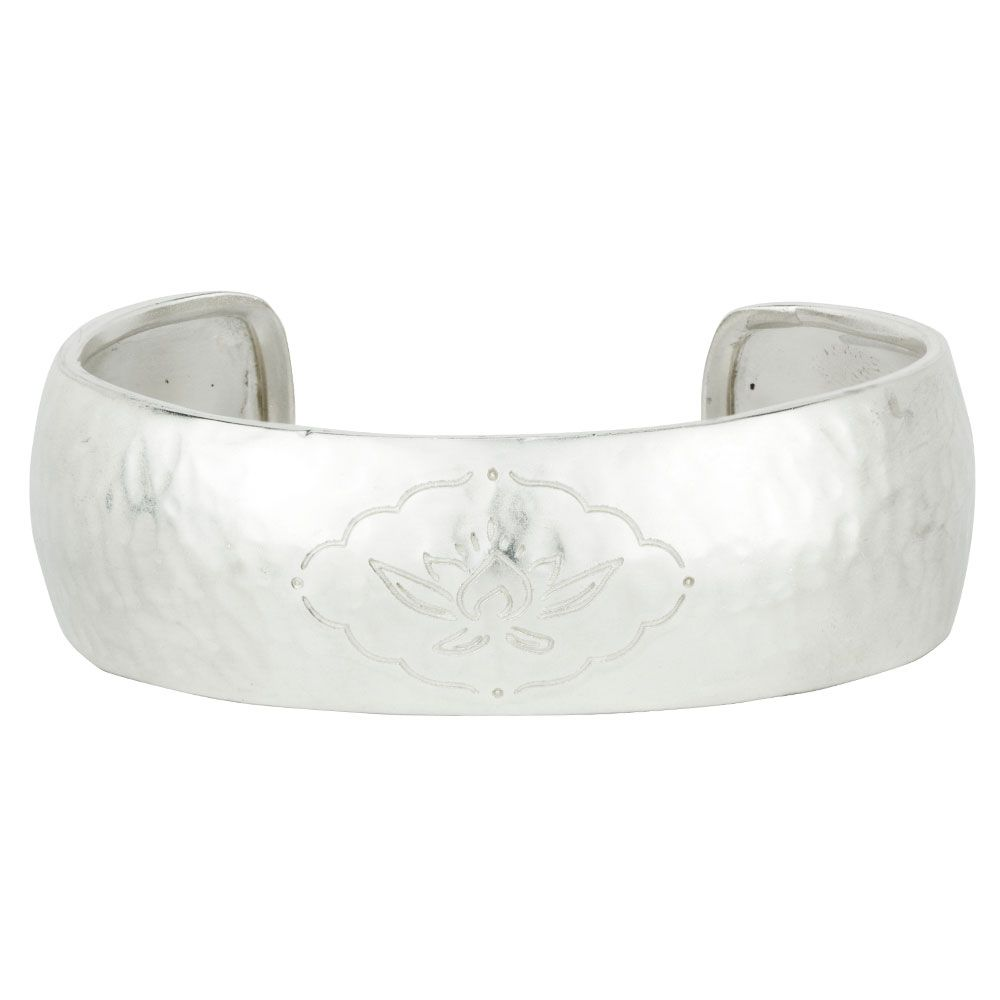 BARONI DESIGNS Bracelet Etched Lotus Cuff Silver