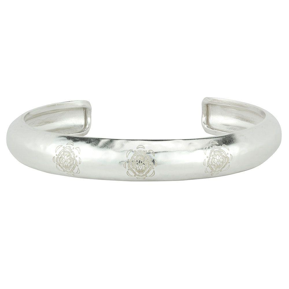 BARONI DESIGNS Bracelet Etched Mandala Pattern Cuff Silver
