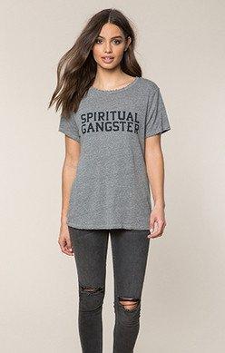 Spiritual Gangster Spiritual Gangster Varsity Rec Tee Grey