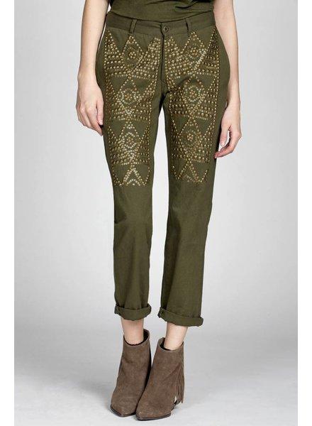Miss Me Miss Me Vintage Army Sequin Pant