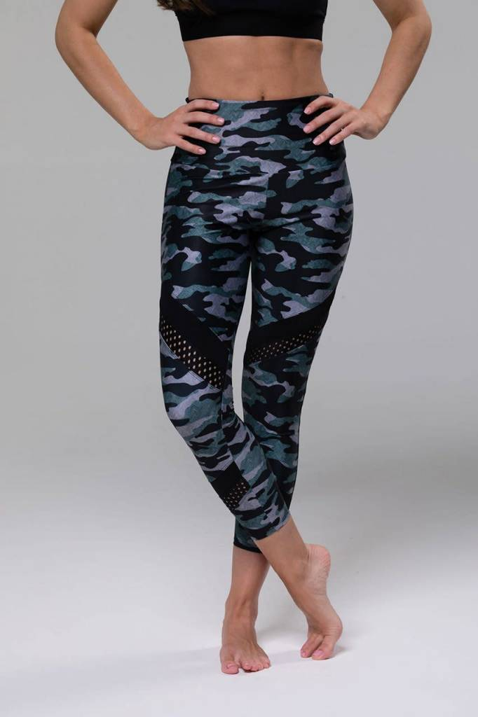 Onzie Onzie High Rise Midi Legging Distressed Camo