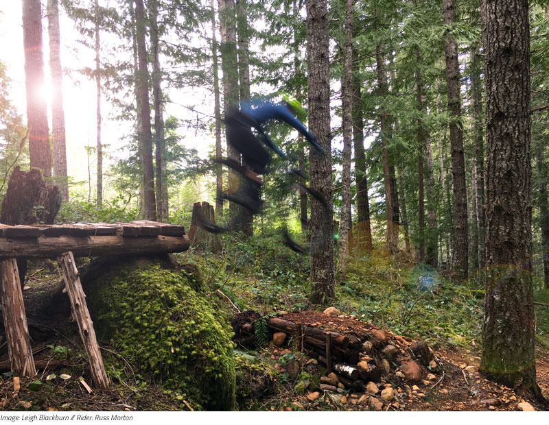Image: Leigh Blackburn // Rider: Russ Morton catching air in Cumberland, BC.
