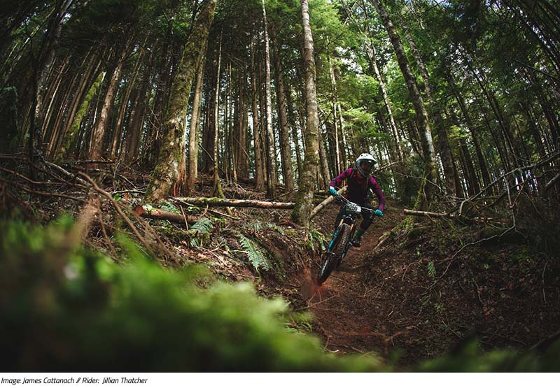 Sovereign Cycle team rider Jillian Thatcher at the BC Enduro Series Vedder Mountain race. Photo by James Cattanach.