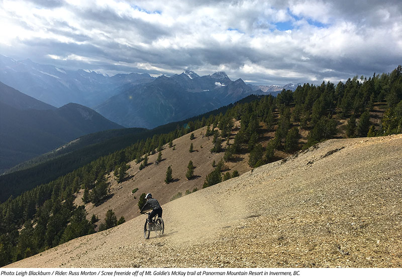 Russ Morton scree riding off McKay Trail in Invermere, BC. Image by Leigh Blackburn from the Sovereign Cycle blog post: Is Now the Golden Age of Mountain Biking?