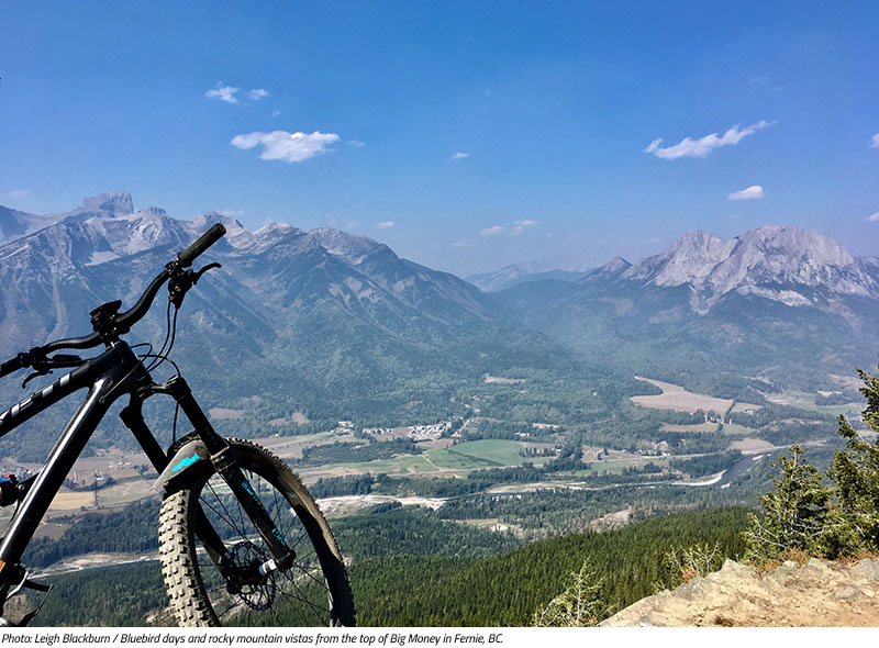 Bluebird days and rocky mountain vistas from the top of Big Money in Fernie, BC. Image by Leigh Blackburn from the Sovereign Cycle blog post: Is Now the Golden Age of Mountain Biking?