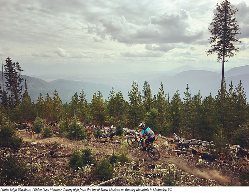 Russ Morton manuals the top of Snow Mexican in Kimberley, BC. Image by Leigh Blackburn from the Sovereign Cycle blog post: Is Now the Golden Age of Mountain Biking?