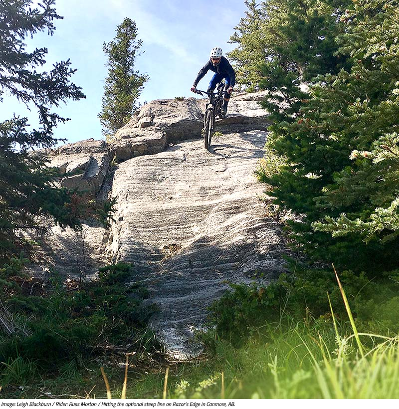 Russ Morton hitting the optional steep line off Razor's Edge. Image by Leigh Blackburn from the Sovereign Cycle blog post: Is Now the Golden Age of Mountain Biking?