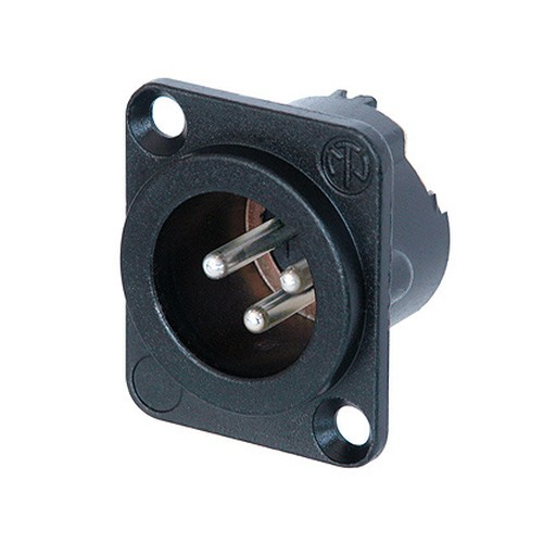 Neutrik Neutrik NC3MD-LX-BAG 3-pin Male XLR Receptacle, Black w/ Siver Contacts