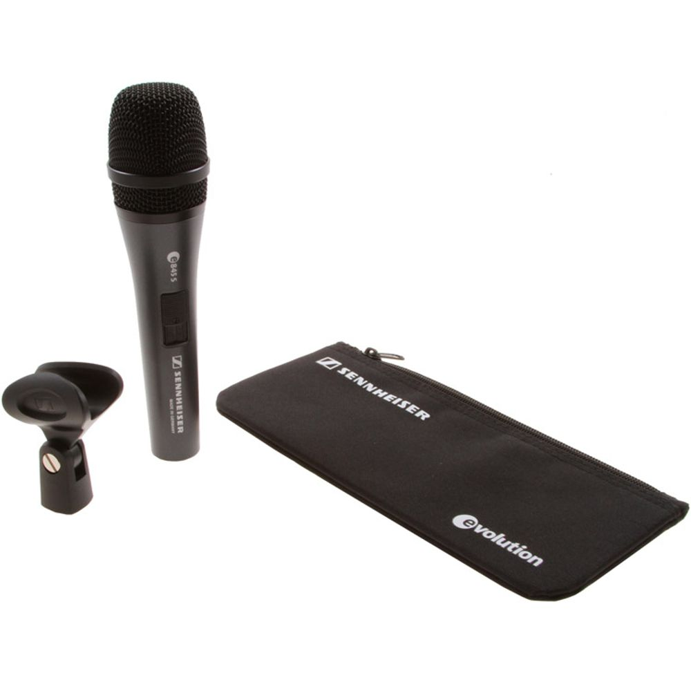 Sennheiser Sennheiser e845-S Handheld super-cardioid dynamic microphone with on/off switch.