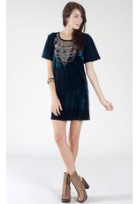CHAMPAGNE AND STRAWBERRY- WING SLEEVE MINI DRESS W/ BEADING