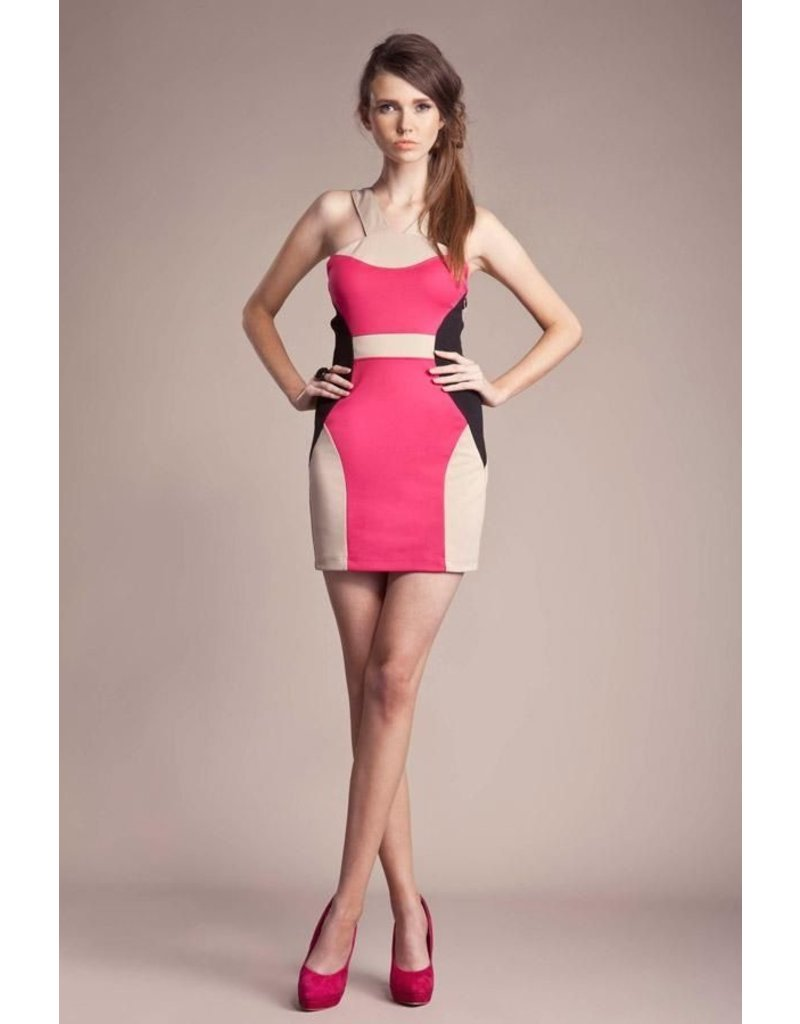 WHAT GOES AROUND COLOR BLOCK BODY DRESS