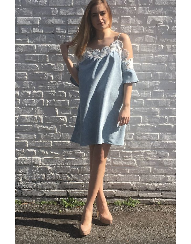 FLOWER CROCHET DENIM DRESS<br /> org. $72