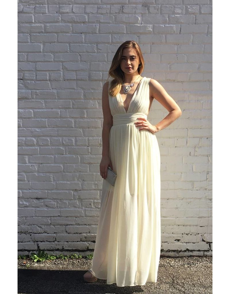 GATHERED MAXI WITH PLUGING NECKLINE