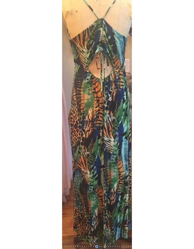 MIXED ANIMAL PRINTED MAXI DRESS