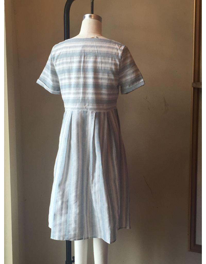 JIDA SHORT SLEEVE STRIPED DRESS