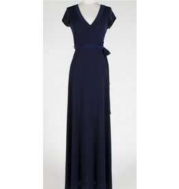 BRIDGE CAP MAXI WRAP DRESS- NAVY
