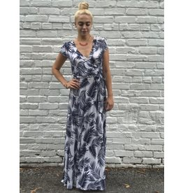 BRIDGE PRINT CAP SLEEVE MAXI DRESS- IVORY/NAVY