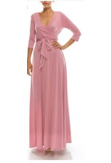 BRIDGE WRAP MAXI 3/4 SLEEVE-MAUVE