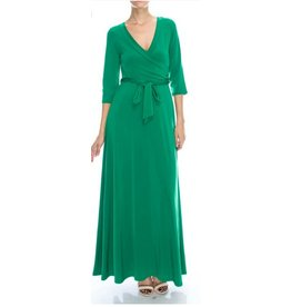 BRIDGE WRAP MAXI 3/4 SLEEVE-GREEN
