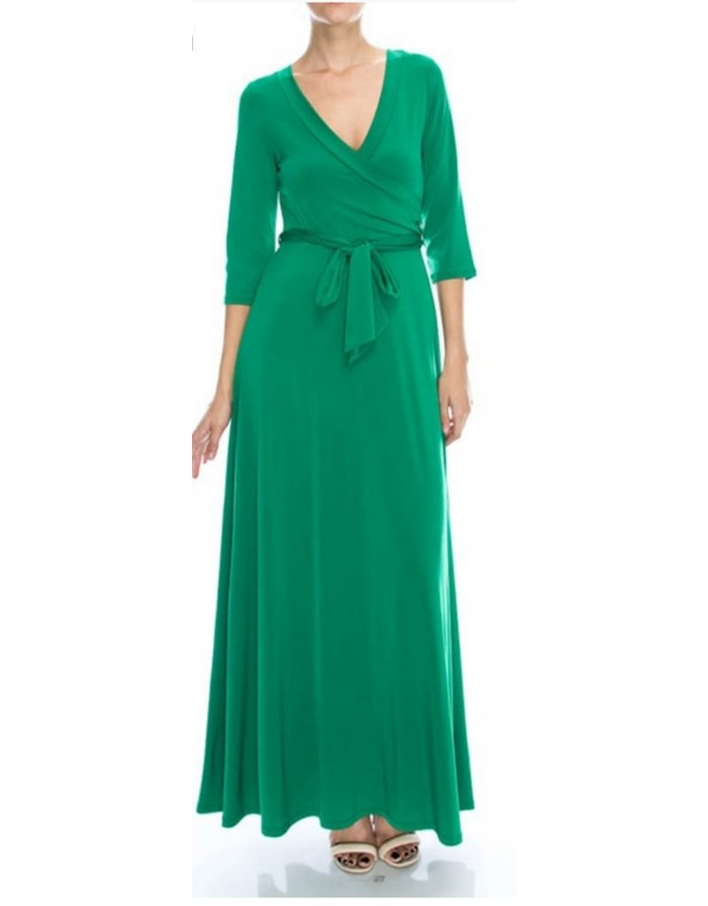 BRDIGE WRAP MAXI 3/4 SLEEVE-GREEN