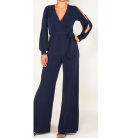 BRIDGE OPEN JUMPSUIT- NAVY