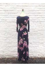 BRIDGE 3/4 SLEEVE FLORAL MAXI DRESS