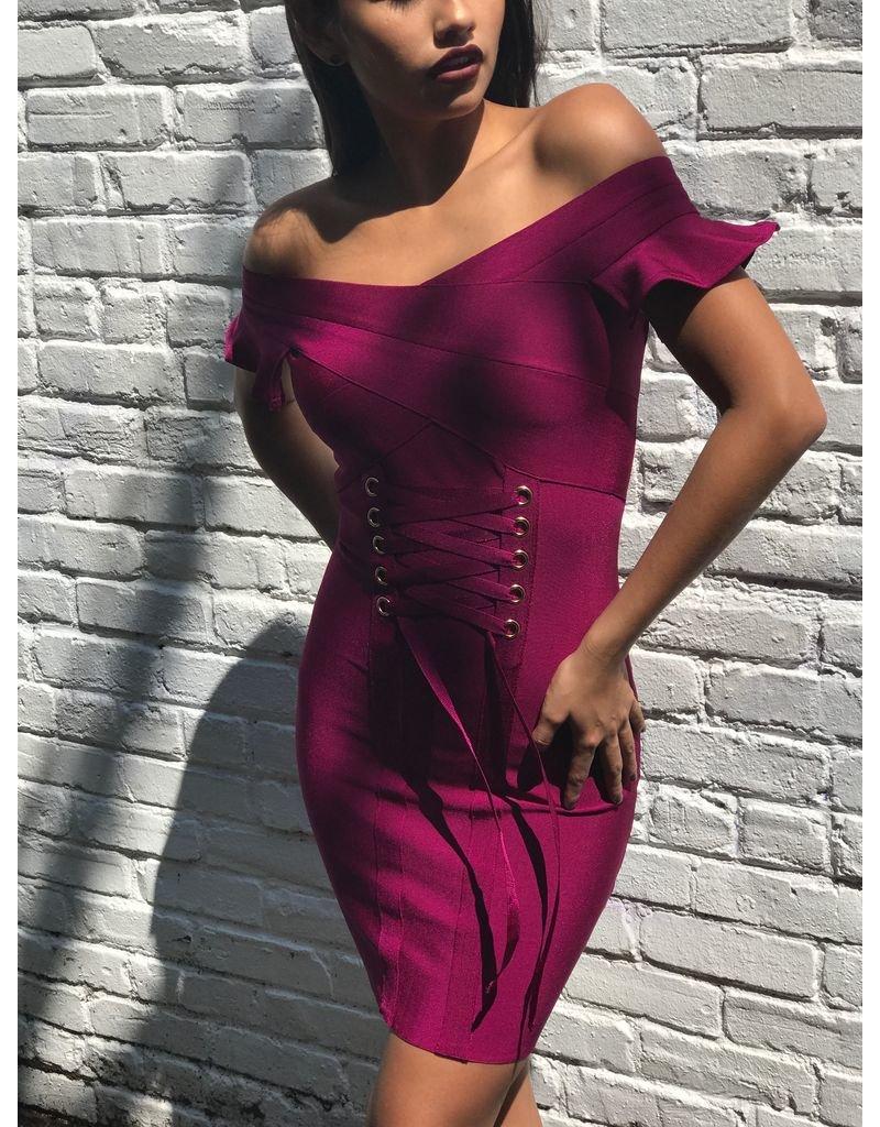 BRYANNE RUFFLED CORSET BANDAGE DRESS