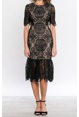 LACE RUFFLE COCKTAIL DRESS
