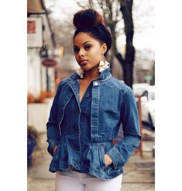 PEPLUM DENIM CAPE JACKET