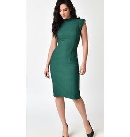 Emerald Stretch High Collar Laverne Wiggle Dress