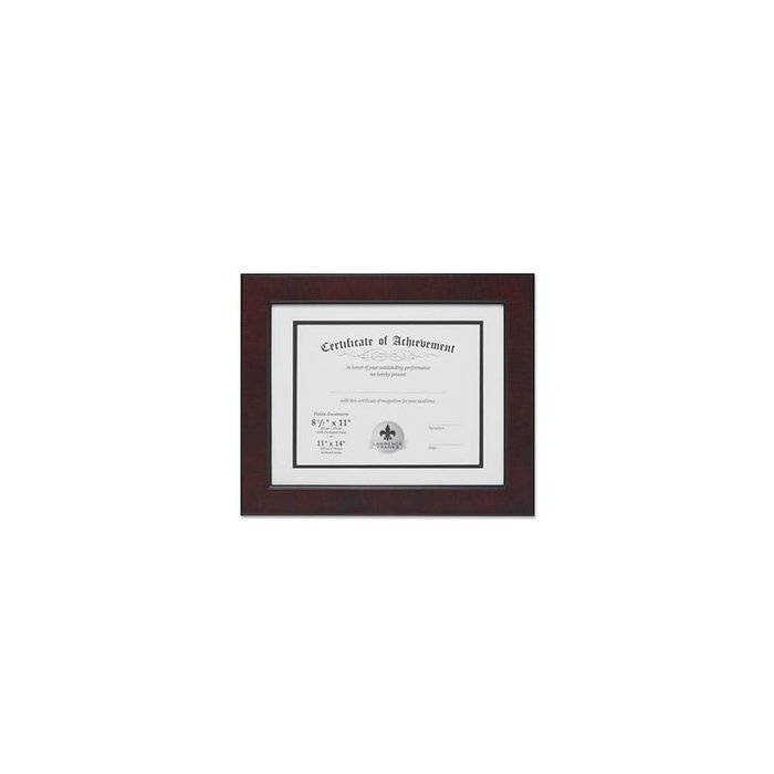 Lawrence Frames Dual Use Faux Burl Diploma Frame with Double Bevel Cut Matting for 8.5x11 or 11x14, Mahogany