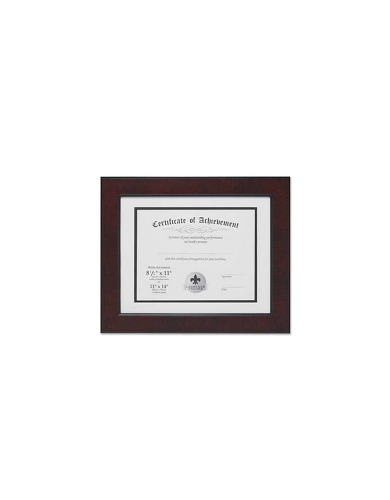 Lawrence Frames Lawrence Frames Dual Use Faux Burl Diploma Frame with Double Bevel Cut Matting for 8.5x11 or 11x14, Mahogany