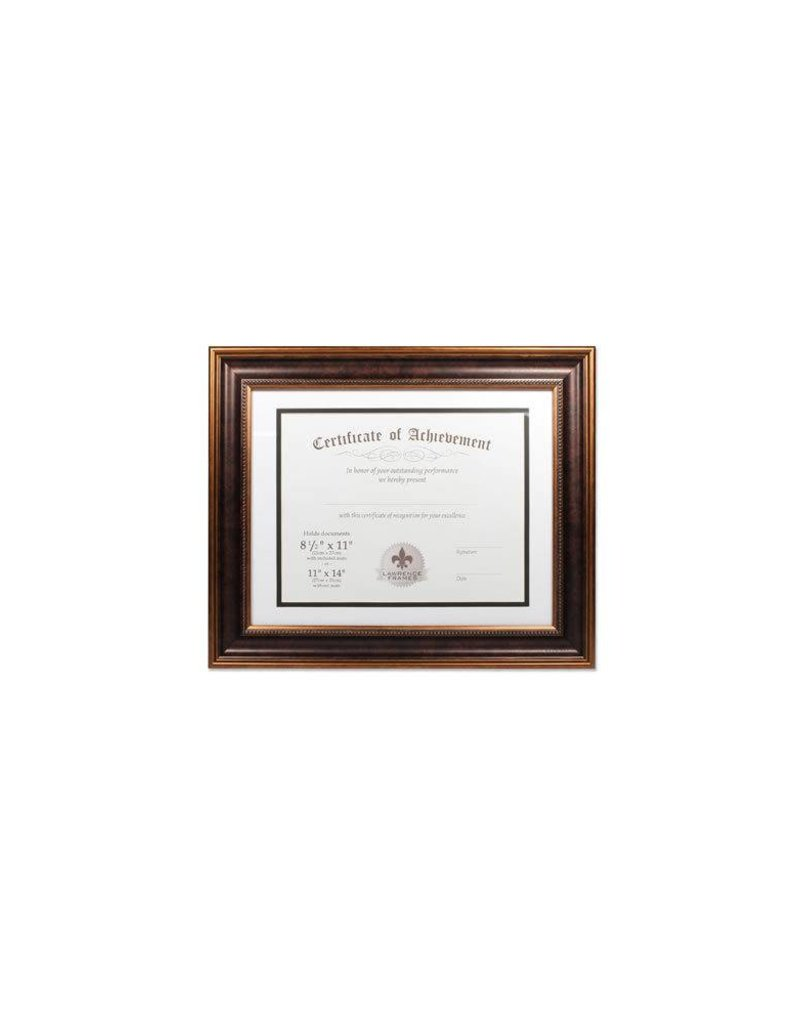 Lawrence Frames Lawrence Frames Dual Use Beaded Diploma Frame with Double Bevel Cut Matting for 8.5x11 or 11x14,