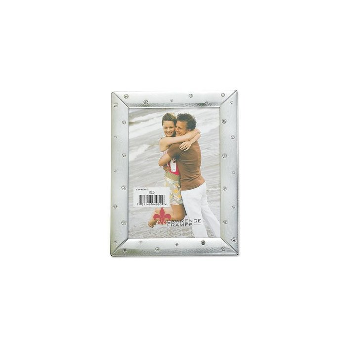 Lawrence Frames Brushed Silver Metal & Crystals Picture Frame,