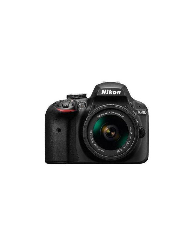 Nikon Nikon D3400 DSLR Camera Body w/NIKKOR 18-55mm f/3.5-5.6G AFP DX VR Lens,