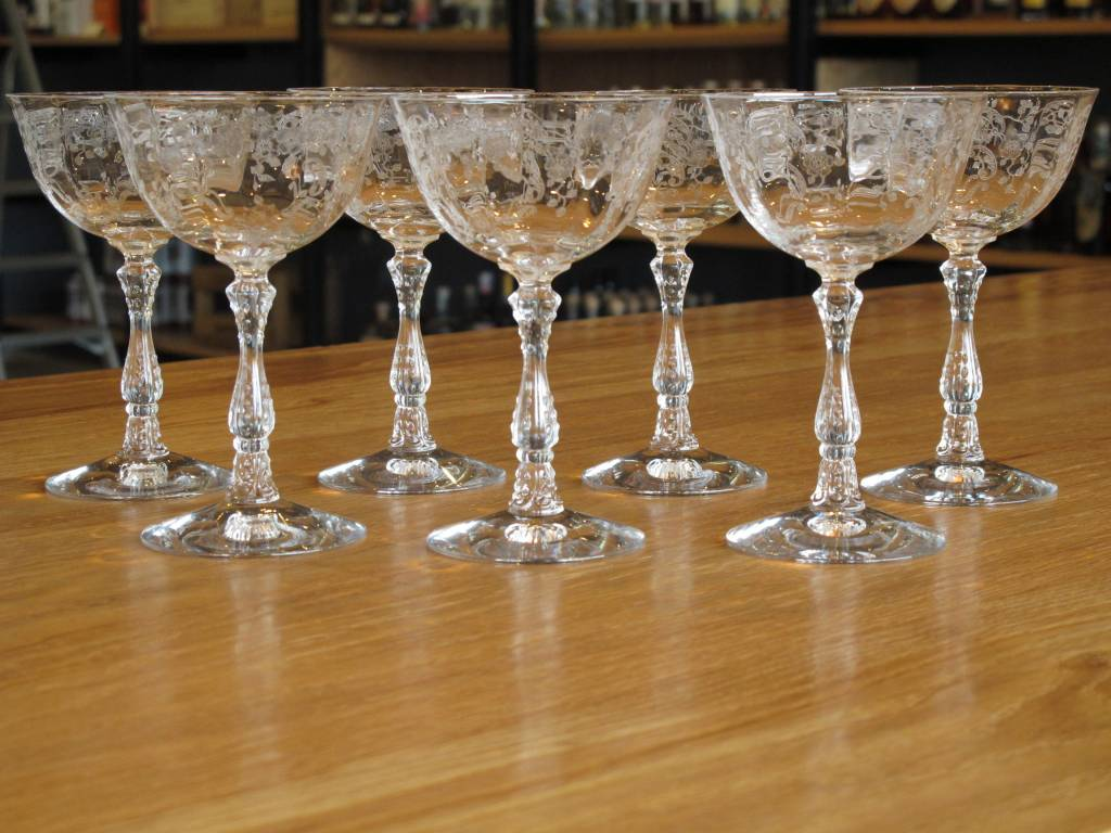 Fostoria Glass Antique Fostoria Meadow Rose Crystal Glasses Set of 7