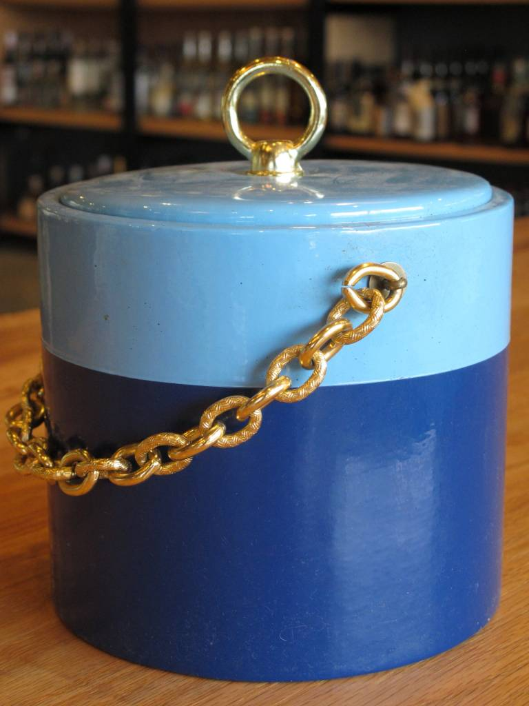 Georges Briard Vintage Georges Briard Two Tone Blue Ice Bucket with Gold Chain