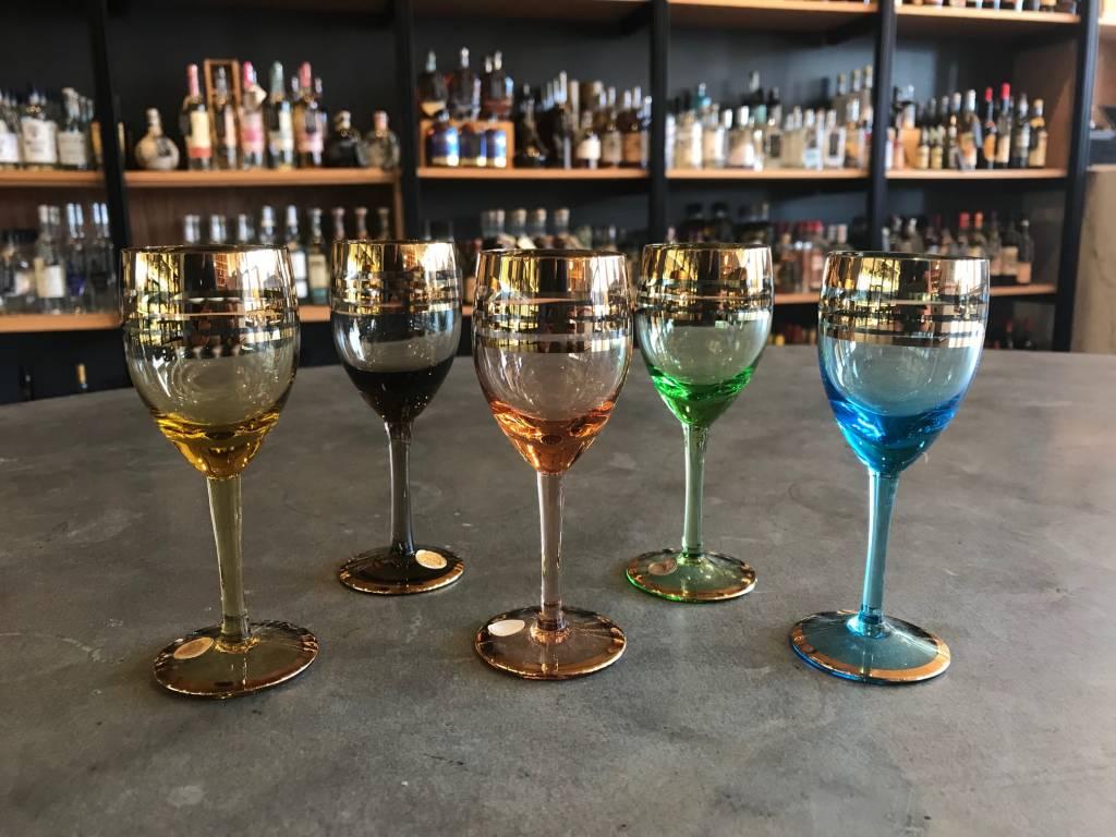 Antique Spirits Sherry Glasses Multi-Color set of 5