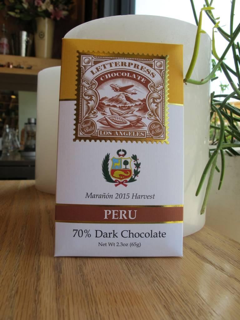 LetterPress Chocolate LetterPress Peru Marañón 70% Dark Chocolate Bar 2.3oz