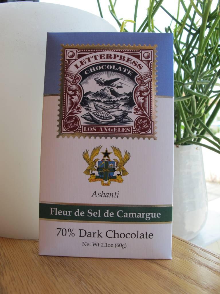 LetterPress Chocolate LetterPress Ghana, with Fleur de Sel 70% Dark Chocolate Bar 2.3oz