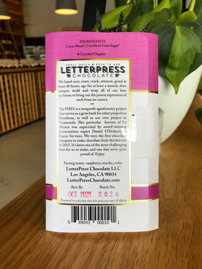 LetterPress Chocolate Letterpress Chocolate La Masica Honduras 70% 2.3oz